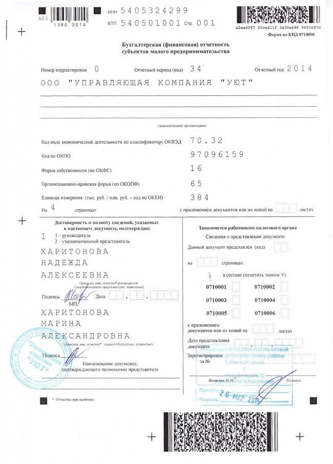 Бухгалтерская (финансовая) отчётность за 2014 год
